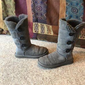 Ugg grey Triple Bailey button sheepskin boots 8